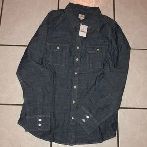 J Crew Jean material button up
